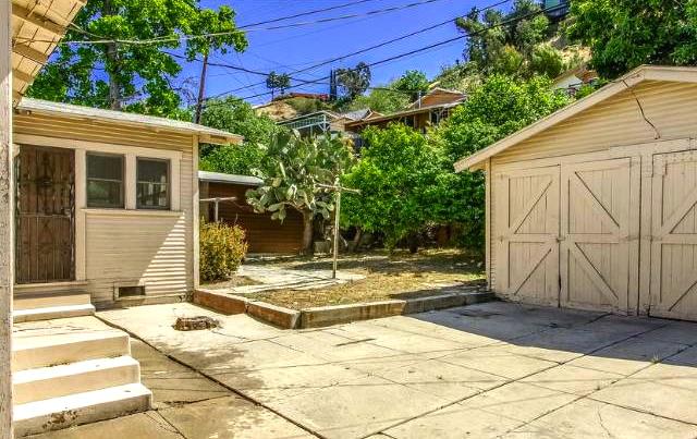 Yard and detached garage.