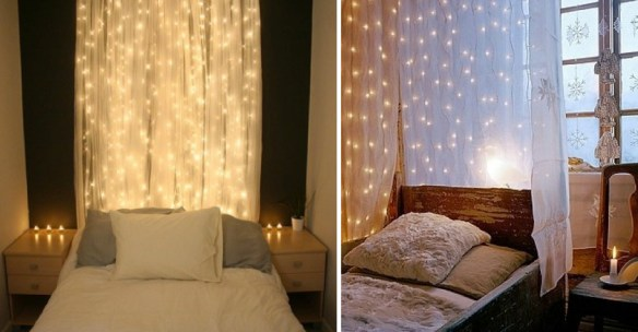 Rustic Bedroom: warm woods, natural fabrics and whimsical use of holiday lights
