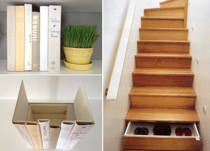 Diy finding creating cleaver hidden storage soulful abode Living room shoe storage ideas