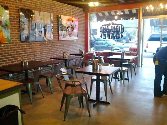Ample seating and art by local artists