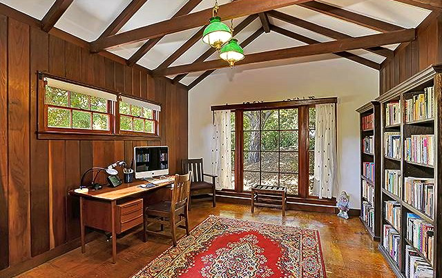 Office with exposed beams