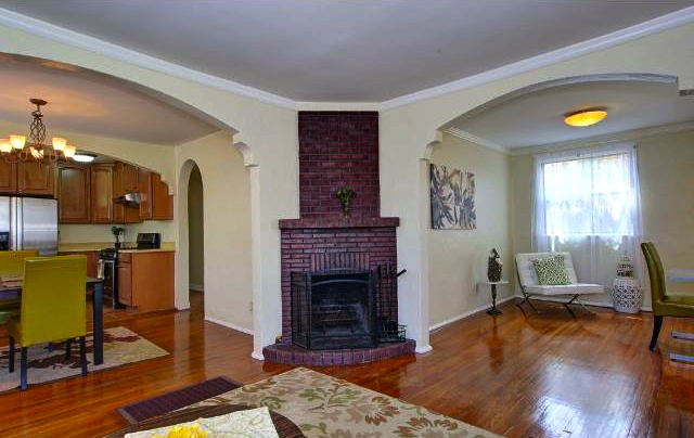 Open floor plan and fireplace