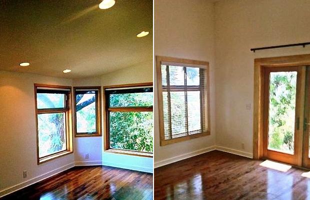 Vaulted ceilings, recessed lighting and original wood floors