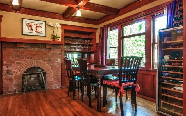 Dining room with fireplace
