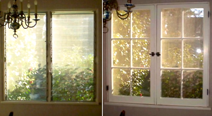 A 1960s Jalousie window replaced with a 1920s wood casement