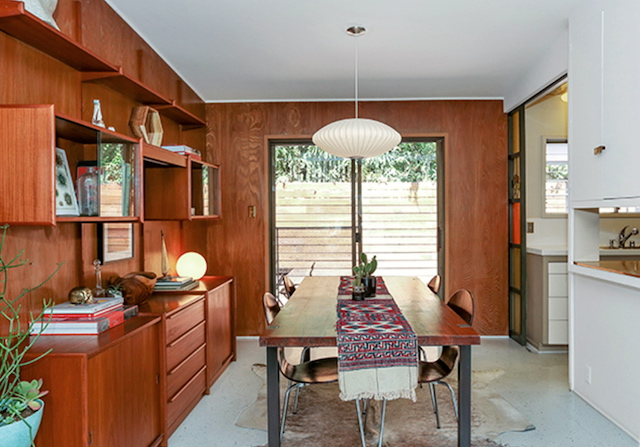 Dining room with patio access and vintage glass