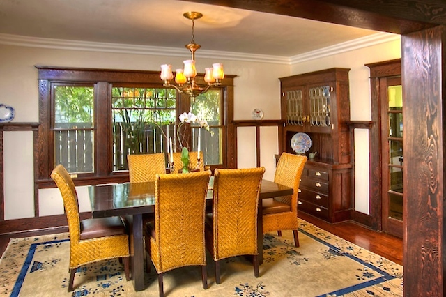 Dining room with original sideboard