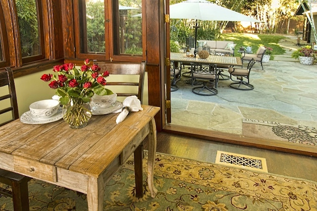 Breakfast nook with patio access