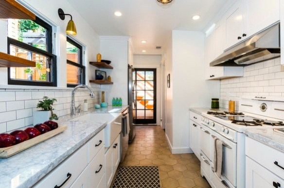 Galley kitchen with vintage stove