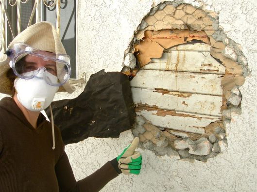 Diy with a buddy how to remove stucco soulful abode - How to repair stucco exterior wall ...