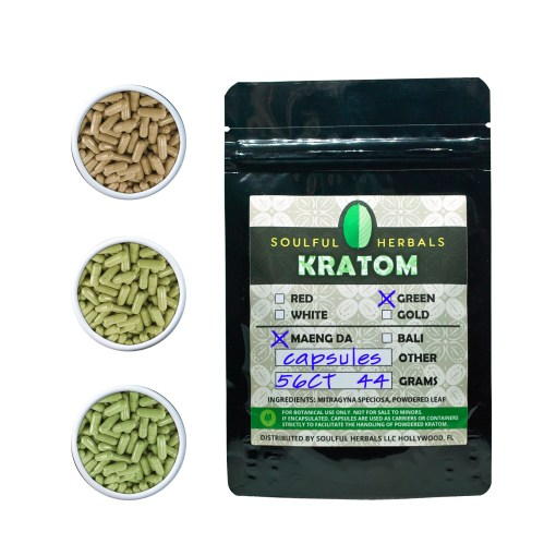 56 Count Kratom Capsules White maeng Da, Red Maeng Da or Green Maeng Da