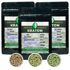 56 Count Kratom Capsules Sampler - White maeng Da, Red Maeng Da or Green Maeng Da