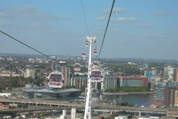 Cable cars at Royal Docks, East London. Taken by Peter Thompson