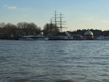 View across Thames towards Cutty Sark at Greenwich, London. Taken by Peter Thompson