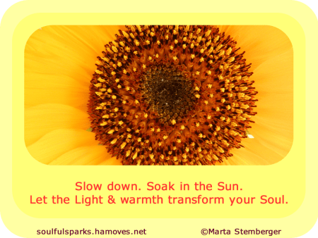 """Slow down. Soak in the Sun. Let the Light and warmth transform your Soul."""