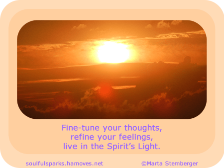 Fine-tune your thoughts, refine your feelings, live in the Spirit's Light.