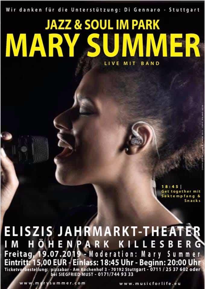 Veranstaltungstipp: Jazz & Soul im Park • MARY SUMMER live mit Band • 19.07.2019 Stuttgart