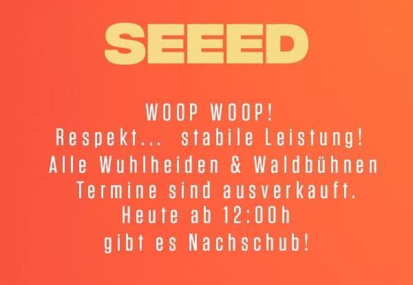 ++SEEED++LIVE 2020 ++ Wuhlheide & Waldbühne: neue Zusatzshows ++ Tickets ab sofort