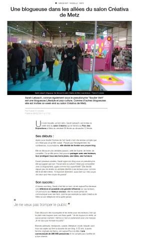 2017, Reportage salon Créative sur France 3 Lorraine