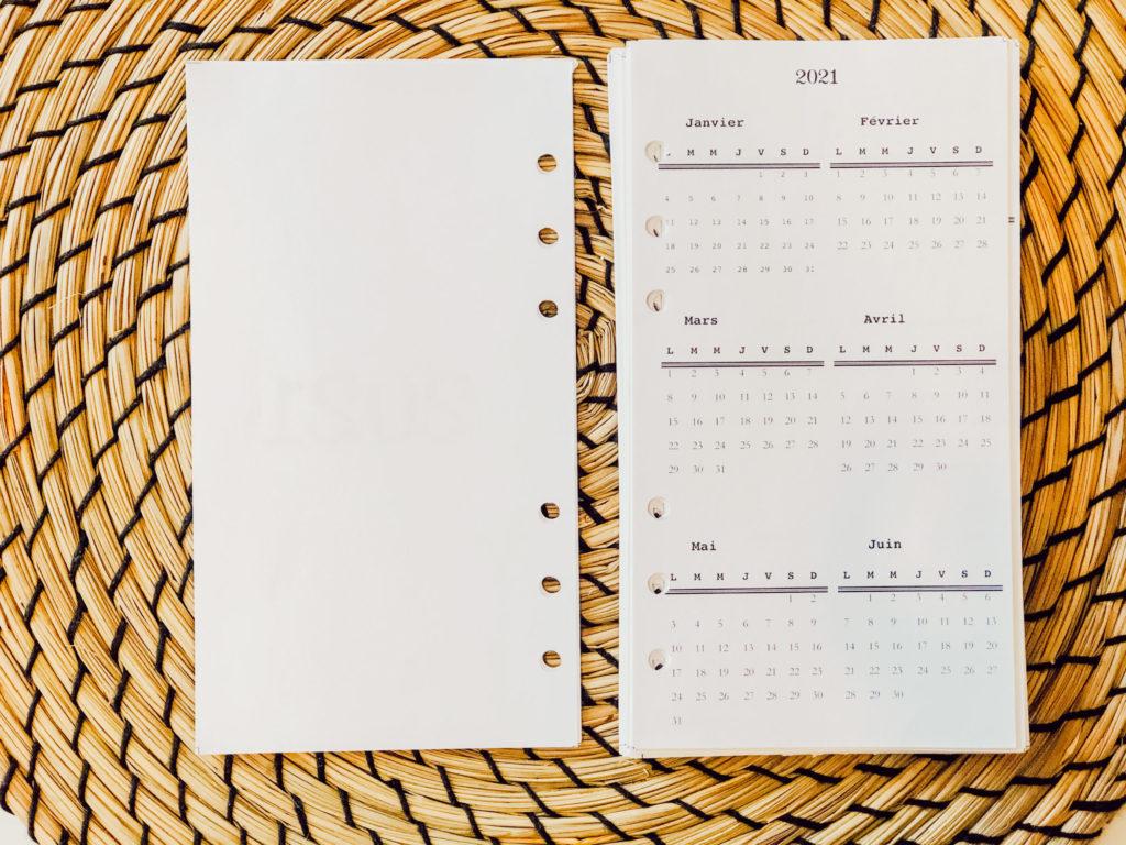 Bullet journal 2021-mini calendrier