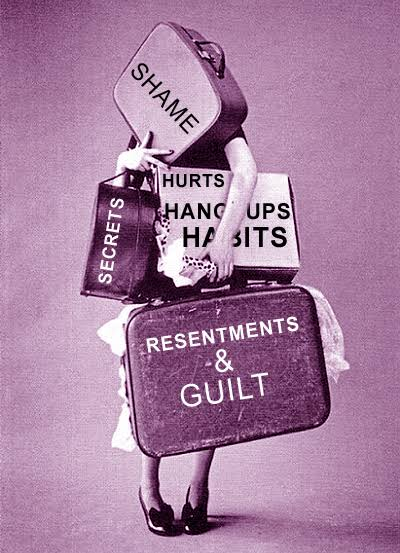 Carrying guilt, shame, condemnation and all other earthly baggage,