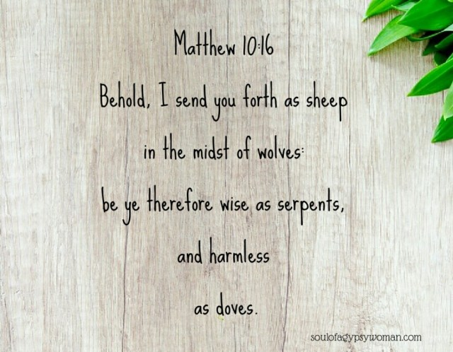 Matthew 10:16  Behold, I send you forth as sheep  in the midst of wolves:  be ye therefore wise as serpents,  and harmless  as doves.