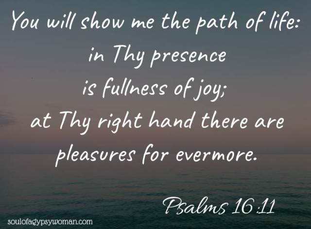 Psalms 16:11 Thou wilt shew me the path of life: in thy presence is fullness of joy; at thy right hand there are pleasures for evermore.