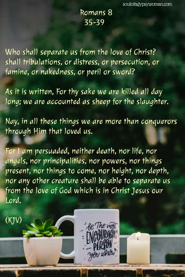 """Romans 8:35-39 Who shall separate us from the love of Christ? Shall tribulation, or distress, or persecution, or famine, or nakedness, or peril, or sword? As it is written: """"For Your sake we are killed all day long; We are accounted as sheep for the slaughter."""" Yet in all these things we are more than conquerors through Him who loved us. For I am persuaded that neither death nor life, nor angels nor principalities nor powers, nor things present nor things to come, nor height nor depth, nor any other created thing, shall be able to separate us from the love of God which is in Christ Jesus our Lord."""