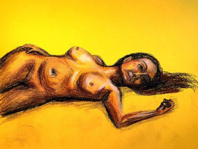 Woman Laying in Yellow
