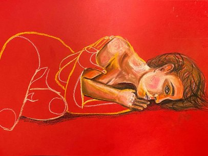 Woman Laying in Red Solitude