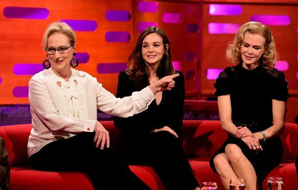 Meryl-Streep-Carey-Mulligan-and-Nicole-Kidman-during-filming-of-the-Graham-Norton-Show