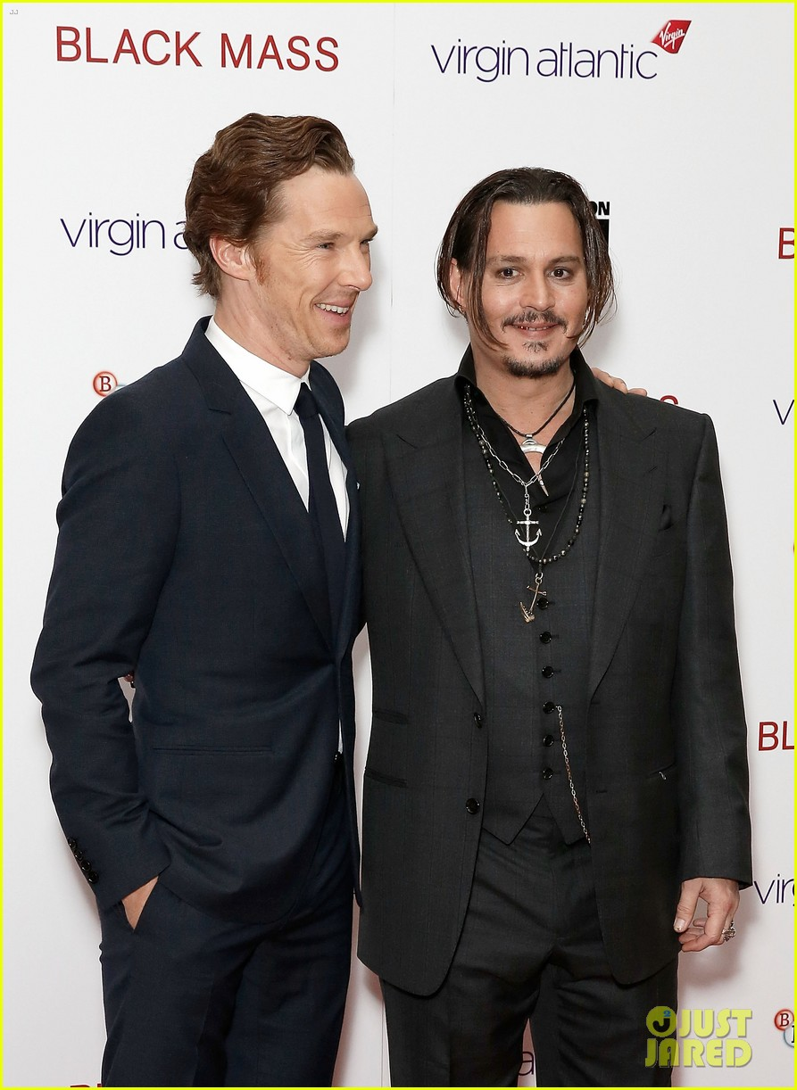 "LONDON, ENGLAND - OCTOBER 11:  Benedict Cumberbatch and Johnny Depp attend the ""Black Mass"" Virgin Atlantic Gala screening during the BFI London Film Festival, at Odeon Leicester Square on October 11, 2015 in London, England.  (Photo by John Phillips/Getty Images for BFI)"