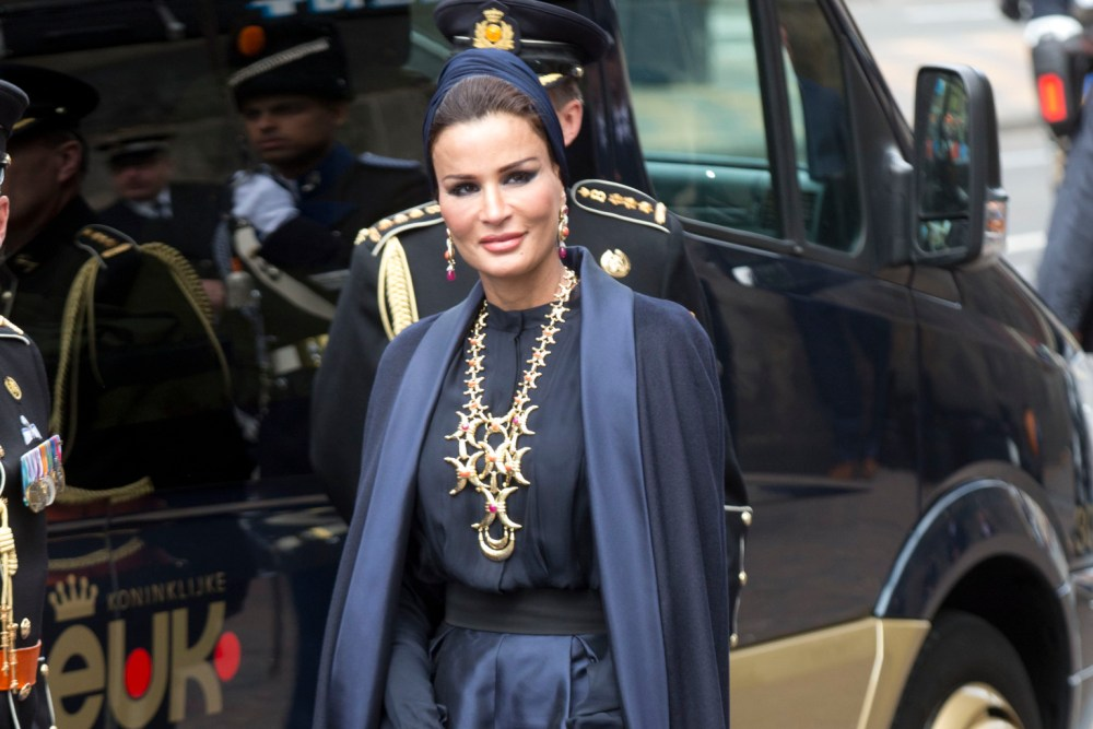 AMSTERDAM, NETHERLANDS - APRIL 30: HH Sheikha Moza bint Nasser al-Misned of Qatar arrives at the Nieuwe Kerk in Amsterdam for the inauguration ceremony of King Willem Alexander of the Netherlands, on April 30, 2013 in Amsterdam, Netherlands. (Photo by Julian Parker/UK Press via Getty Images)