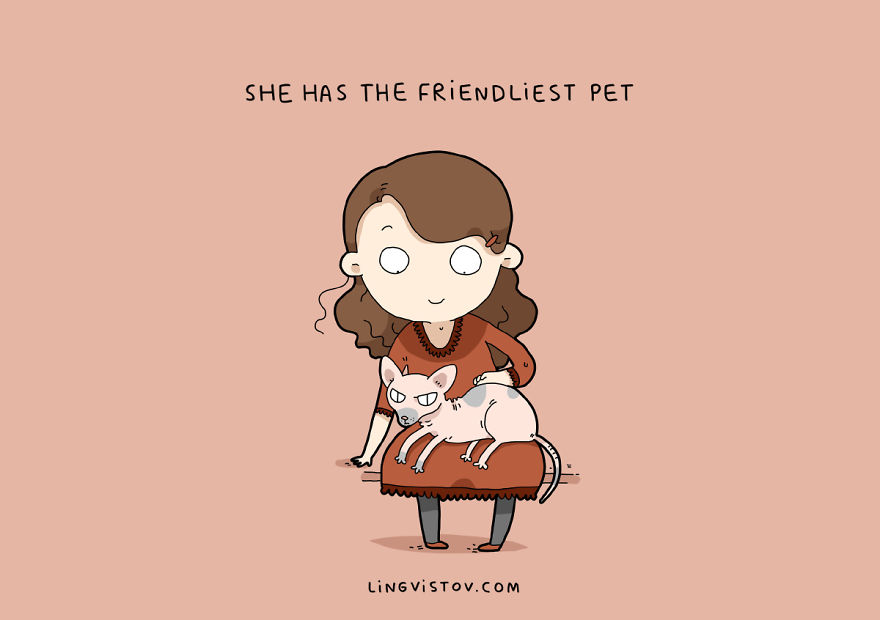 У нее самый приветливый кот