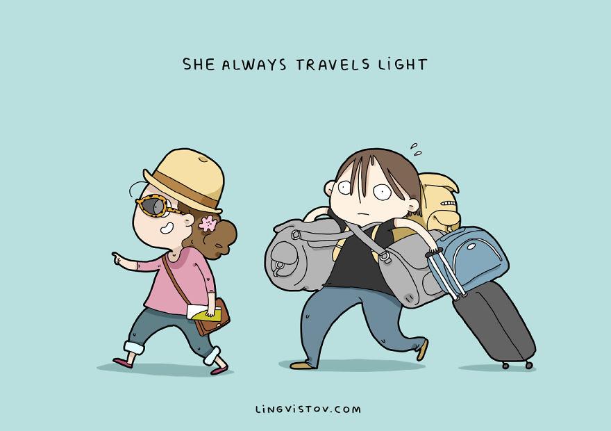 Она всегда путешествует на легке