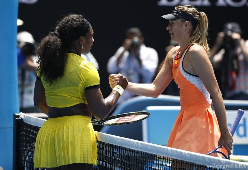 epa05126035 Serena Williams of the US (L) shakes hands with Maria Sharapova of Russia  after winning their quarter finals match at the Australian Open tennis tournament in Melbourne, Australia, 26 January 2016.  EPA/MAST IRHAM