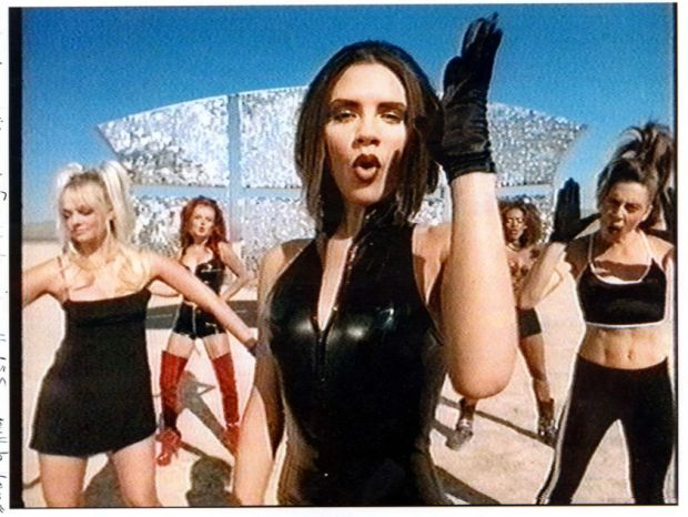 Spice Girls in promo video for 'Say You'll be there' Emma Bunton, Geri halliwell, Victoria Adams (Victoria Beckham), Mel B, Mel C