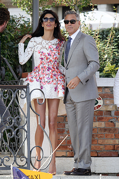 George Clooney and his new wife Amal Alamuddin leave The Aman Canal Grande Hotel for the first time after marrying yesterday (27Sep14) Featuring: Amal Alamuddin,George Clooney Where: Venice, Italy When: 28 Sep 2014 Credit: KIKA/WENN.com **Only available for publication in UK, Germany, Austria, Switzerland, USA**