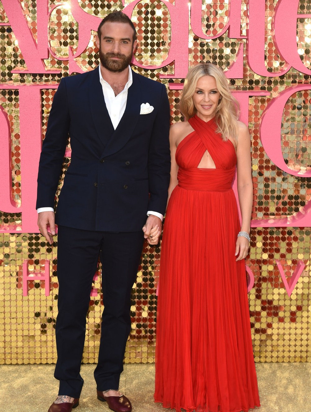 Mandatory Credit: Photo by David Fisher/REX/Shutterstock (5738573gj) Joshua Sasse and Kylie Minogue 'Absolutely Fabulous: The Movie' world film premiere, London, UK - 29 Jun 2016