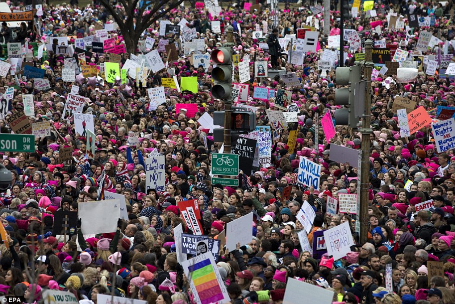 the womens march in washington dc against president donald trump People gather for the women's march in washington shannon stapleton/reuters  the us may as well be renamed the land of the red, white, and pink on saturday, january 21.