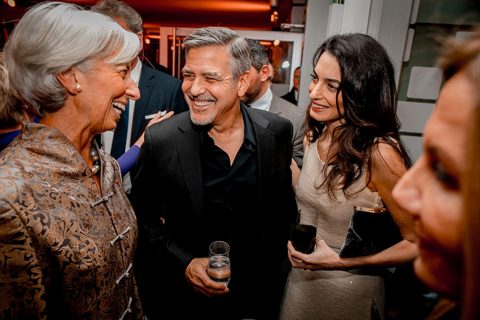 Christine Lagarde mit George Clooney & Gattin Amal, 2016
