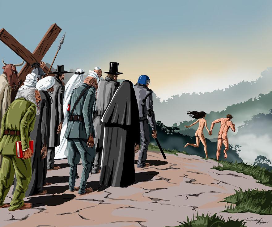 Сатирические иллюстрации о проблемах современного общества от Гюндуза Агаева