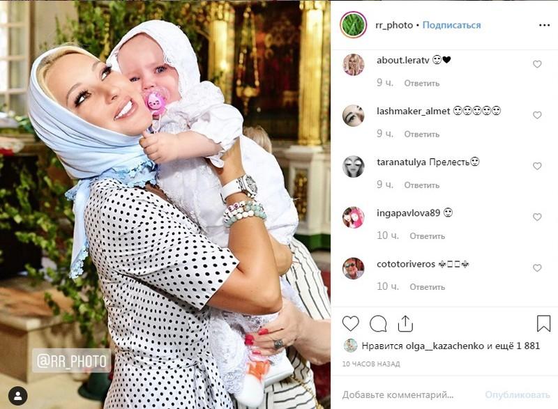 48-летняя Лера Кудрявцева крестила годовалую дочь — фото