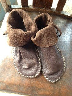 Cuffed Moccasin cradfted from buffalo hide.