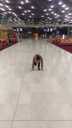 Passing time in an empty airport