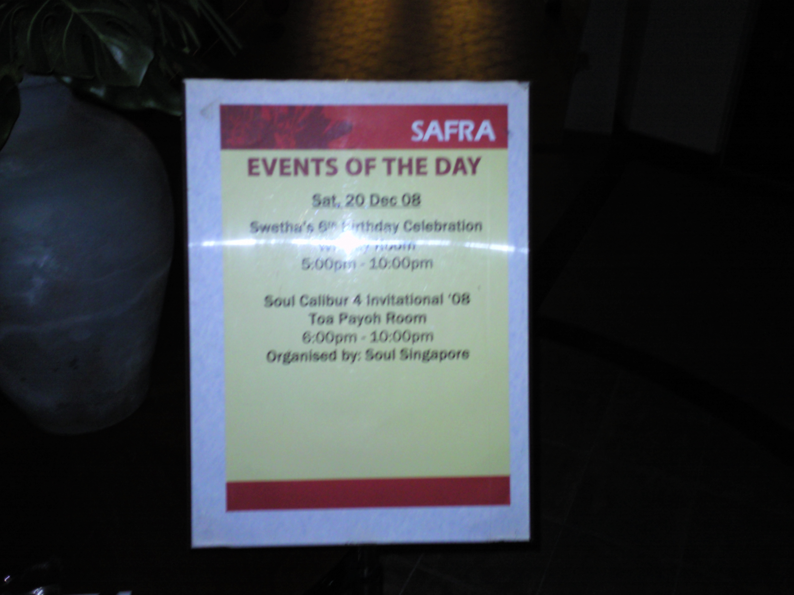 Events signage @ SAFRA Toa Payoh