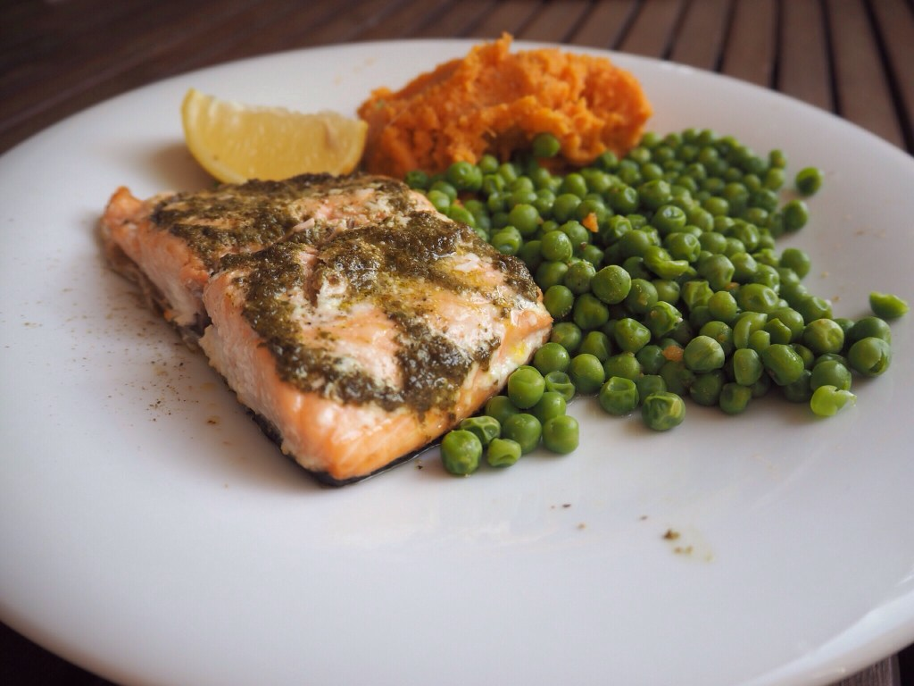 Salmon Fish, Peas And Sweet Potato Mash
