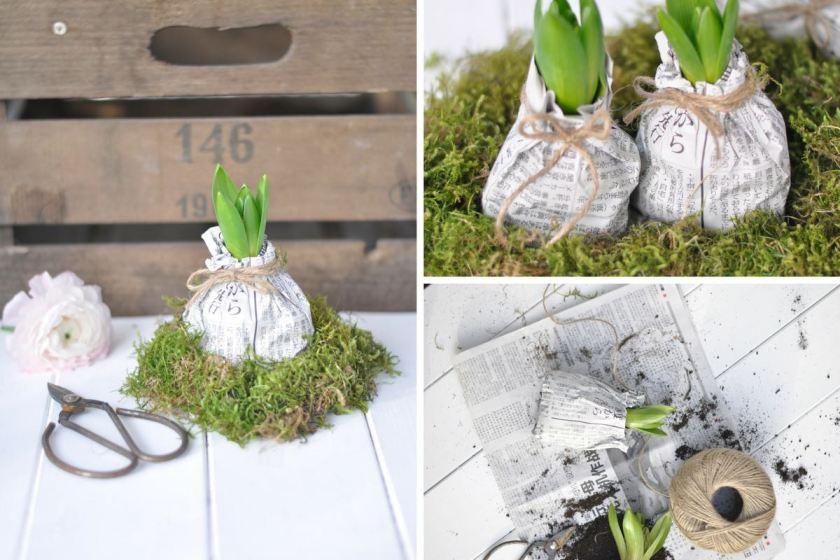 Blumengrüße in Papier verpackt: ein schönes Geschenk im Frühling!