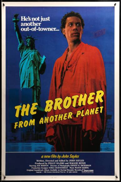 """April 25: De-colonizing Movies! We'll takin another week from our usual reading to kick back hangout and watch John Sayles: Brother from Another Planet (1984). from IMDB: """"The Brother"""" (Joe Morton) is an alien and escaped slave on the run from his home planet. After he lands in New York City, he tries to adapt to life on the streets of Harlem. Although the Brother is mute, he does have great abilities at fixing machines, and he gets a job. As the Brother tries to blend in with his new culture, he finds an apartment and gradually makes friends. Meanwhile, he is pursued by two agents from his home world who are intent on returning there with him. https://www.youtube.com/watch?v=cGaueP0Iufo // contact us for details"""