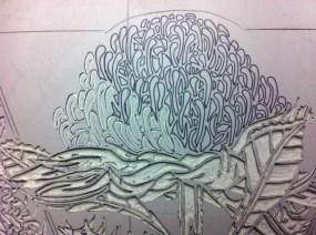 Lino carving progressions - Waratah 5